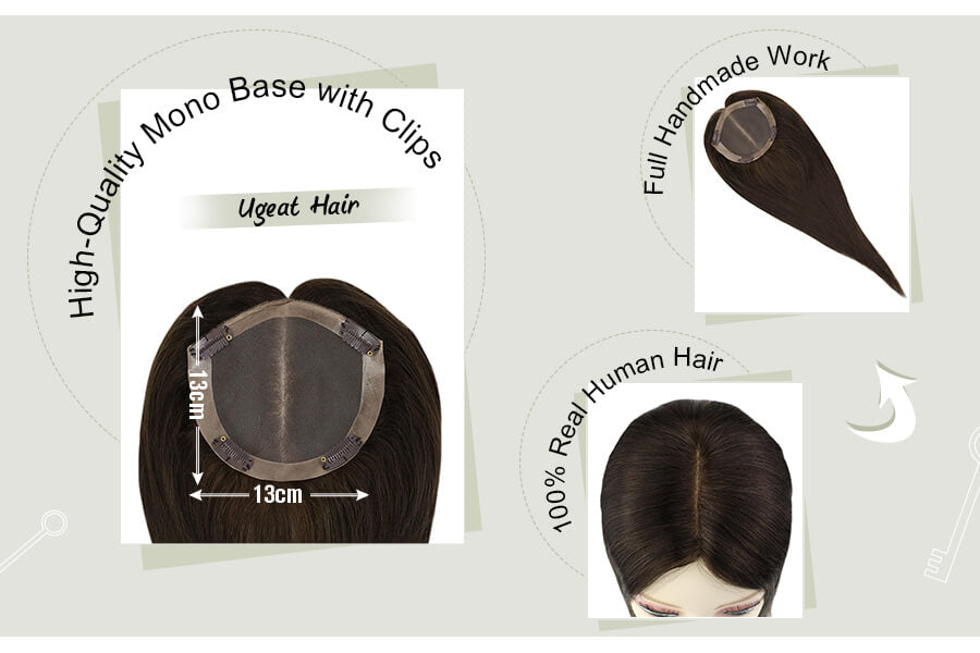Mono Crown Toppers Hairpieces for Thinning Hair #2 Darkest Brown