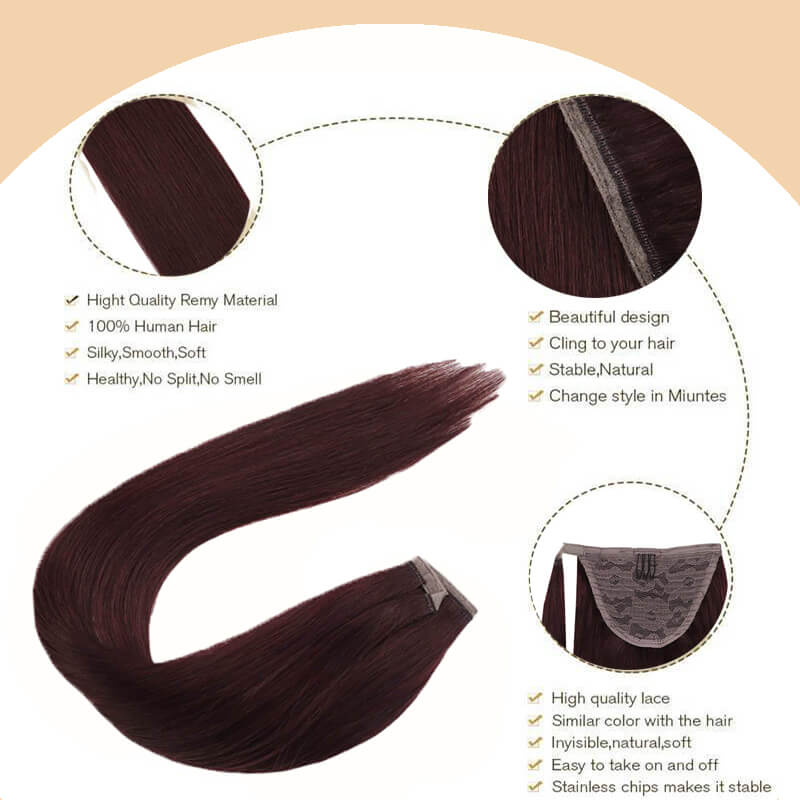 clip in hair ponytail black and wine red