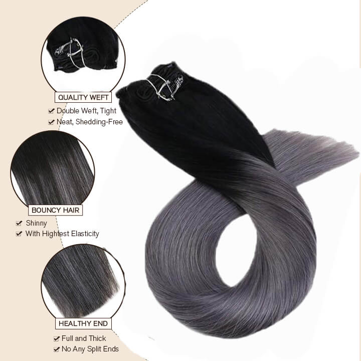 clip in hair extensions 1b/silver