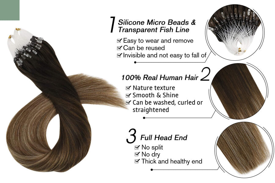 Micro Ring Human Hair Extensions for Sale Ombre Brown with Blonde 2/6/12