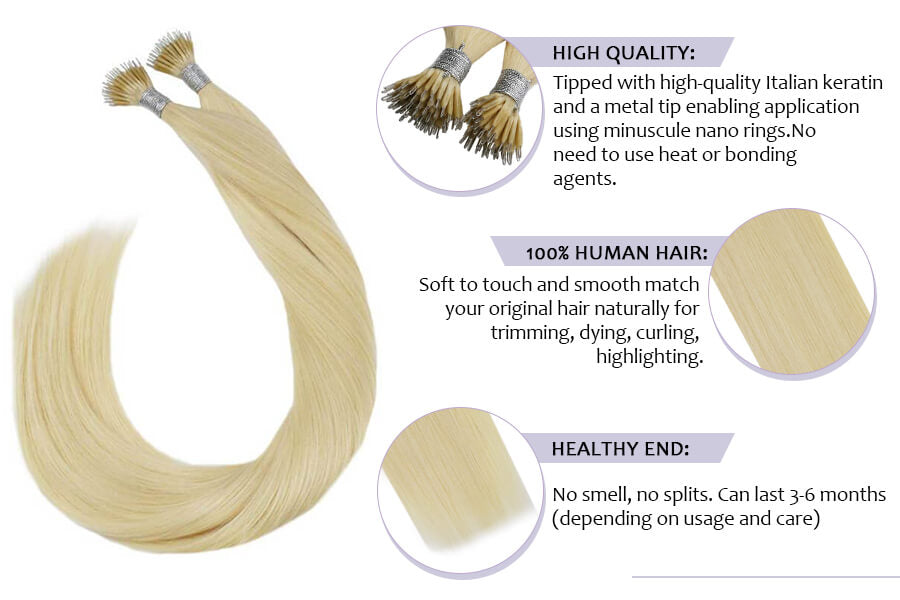 Ugeat Nano Tip Hair Extensions Human Hair Bleach Blonde #613