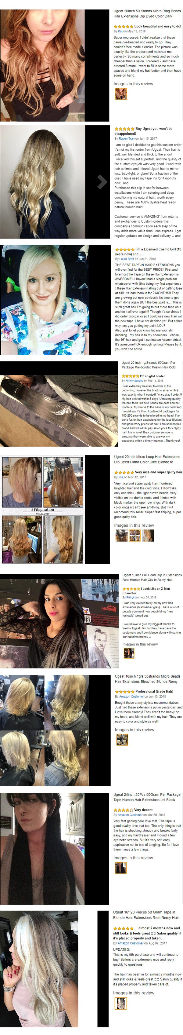 Customer's Reviews of Ugeat Human Hair Extensions