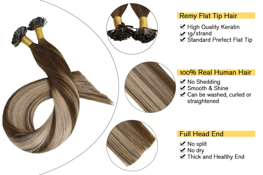 Ugeat Flat Tip Balayage Ash Blonde Ombre Dark Brown Pre Bonded Human Hair Extensions