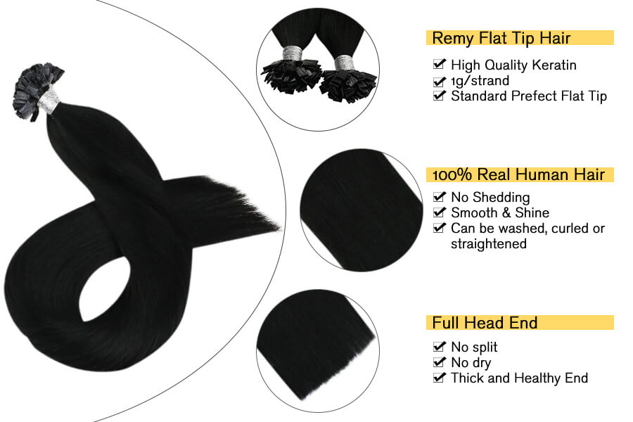 Jet Black #1 Pre Bonded Flat Tip Hair Extensions 50Gram/50Strand Fusion Hair Extensions