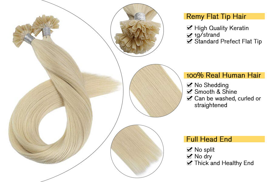 Flat Tip Hair Extensions Platinum Blonde #60 Remy Human Hair Extensions