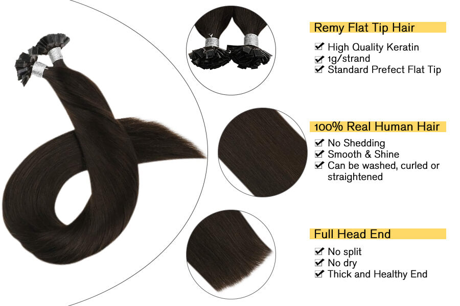 Flat Tip Real Hair Extensions Darkest Brown #2 Pre Bonded Fusion Hair Extensions 50Strands/50Gram