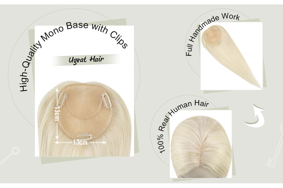 Platinum Blonde #60 13×13cm Remy Hair Hand-tied Natual Topper for Women Real Human Hair