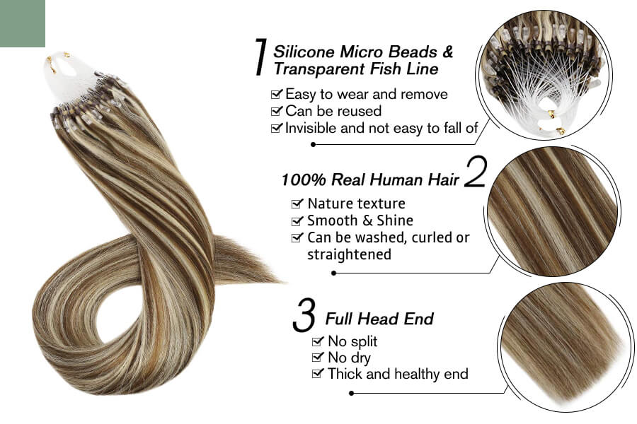 Micro Loop Hair Extensions Fusion Brown with Blonde Color #8/613
