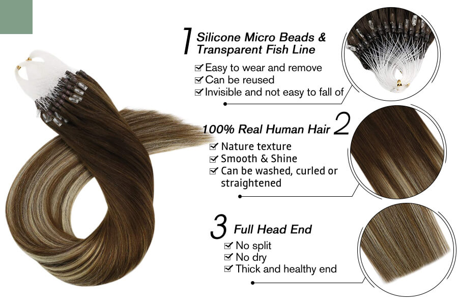 Micro Loop Hair Extensions for Thin Hair Balayage Color #4/6/613