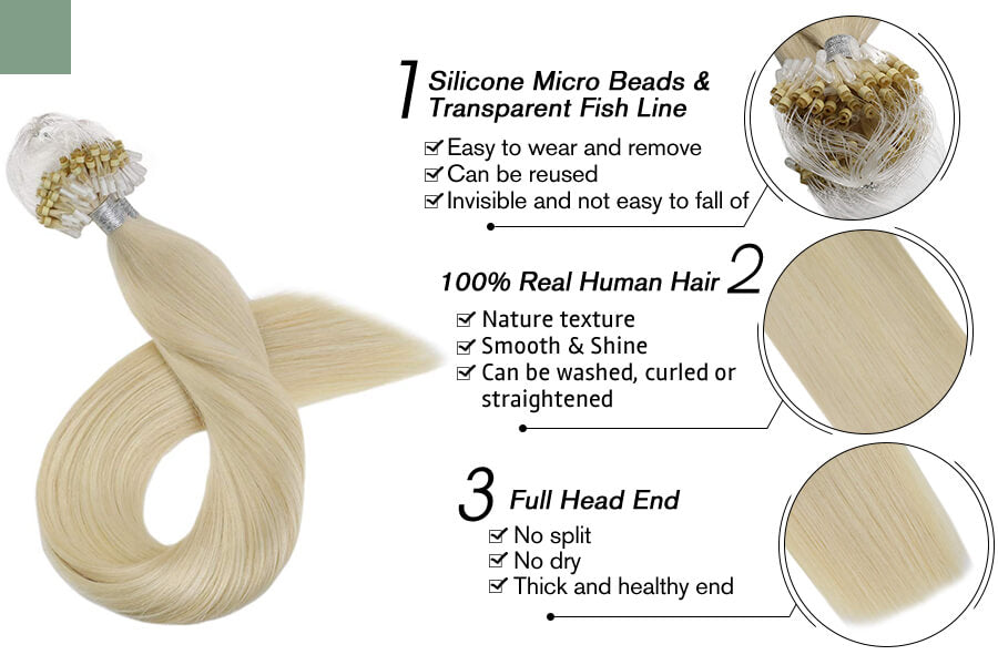 Micro Loop Hair Extensions for Thin Hair Platinum Blonde Color #60