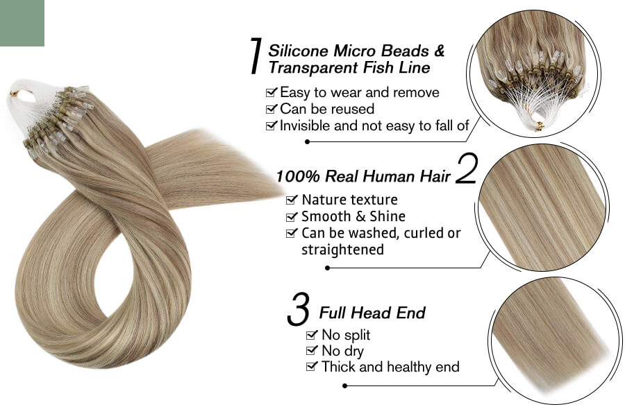 Micro Loop Hair Extensions Ash Blonde with Bleach Blonde Color #18P613