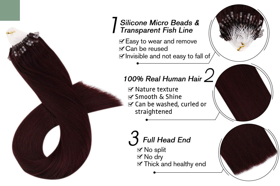 The Best Micro Loop Hair Extensions Wine Red Color for Sale #99j