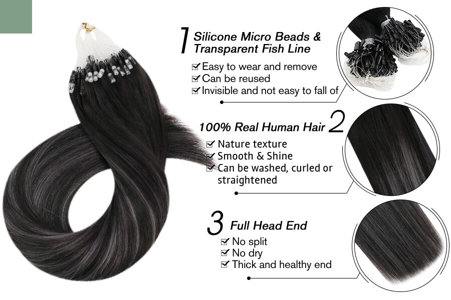 Micro Ring Hair Extensions Black with Silver Color #1b/silver/1b