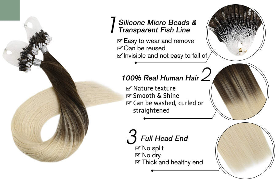 Micro Loop Bead Hair Extensions Ombre Color Brown with Blonde #2/60