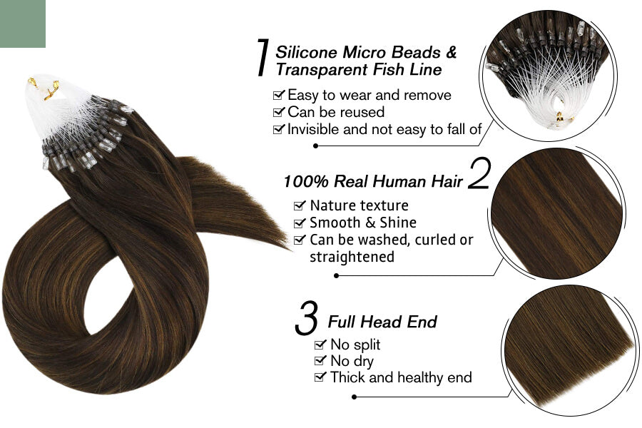 Invisible Hidden Micro Ring Hair Extensions Balayage Brown 2/6/2