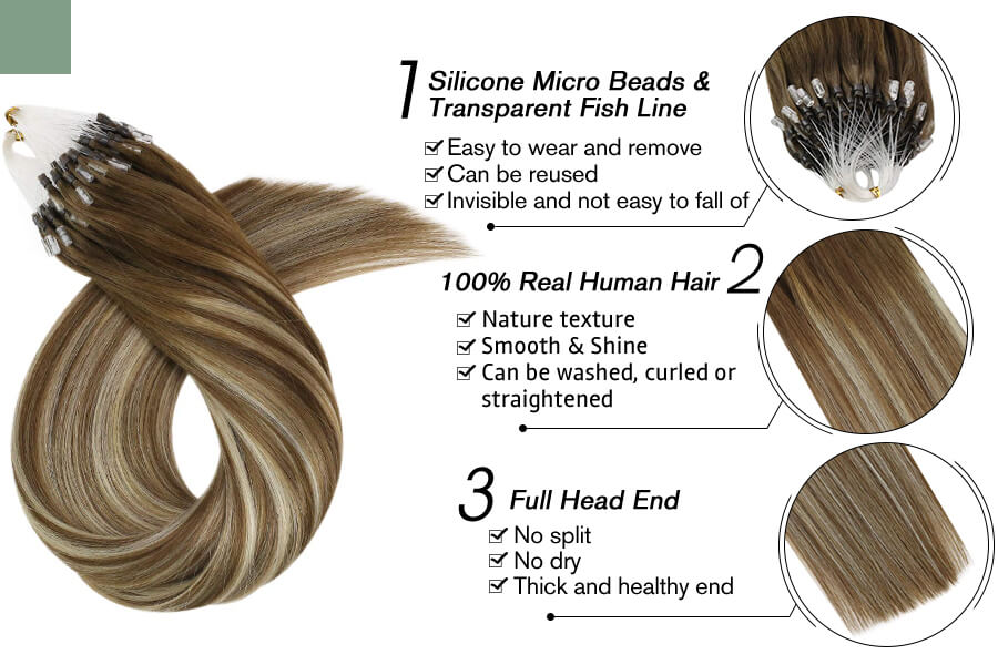 Micro Loop Bead Hair Extensions Blonde Balayage Color #9A/60/9A
