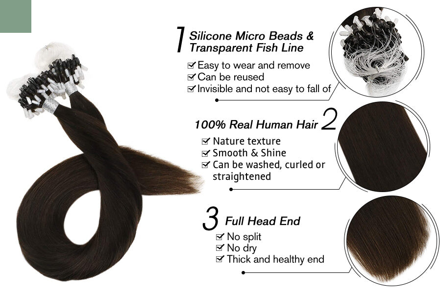 Micro Loop Hair Extensions for Thin Hair Pure Dark Brown Color #2
