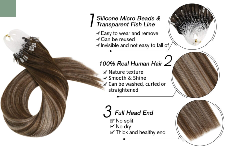Micro Ring Hair Extensions Remy Hair Two Tone Dark Brown with Ash Blonde 4/18/4