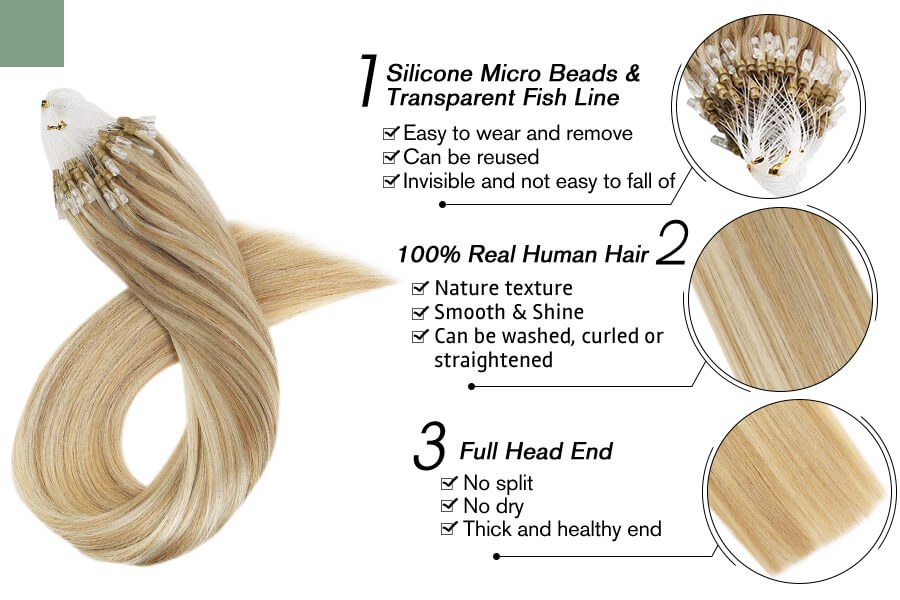 Micro Loop Bead Hair Extensions Blonde Piano Color for Sale #27/613