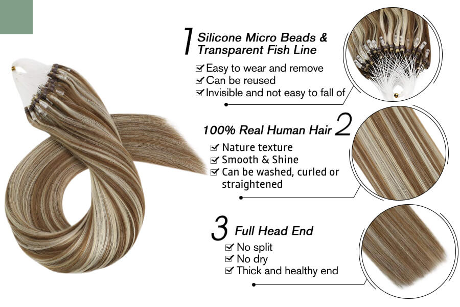 Micro Loop Hair Extensions Micro Beads Piano Color 10/613