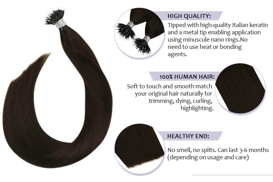 #2 Darkest Brown Pre Bonded Brown Hair Extensions Invisible Hair Extensions