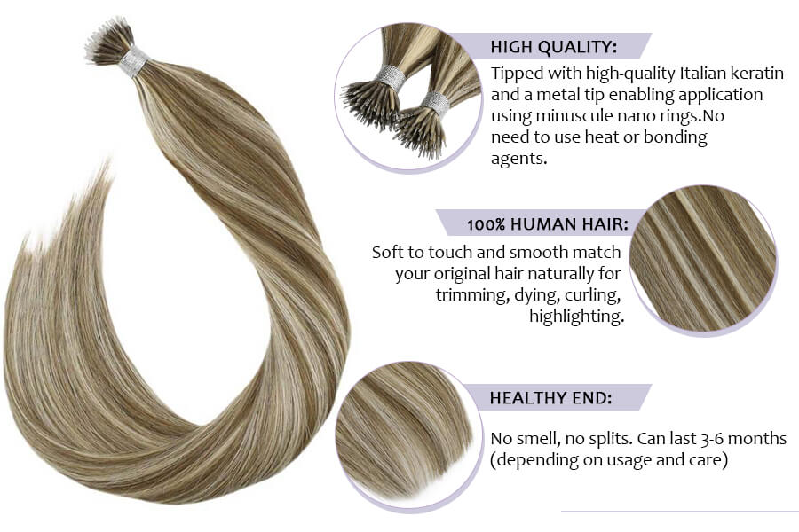 Nano Tip Hair Extensions Human Hair #10 Blonde with #613 Bleach Blonde Nano Beads