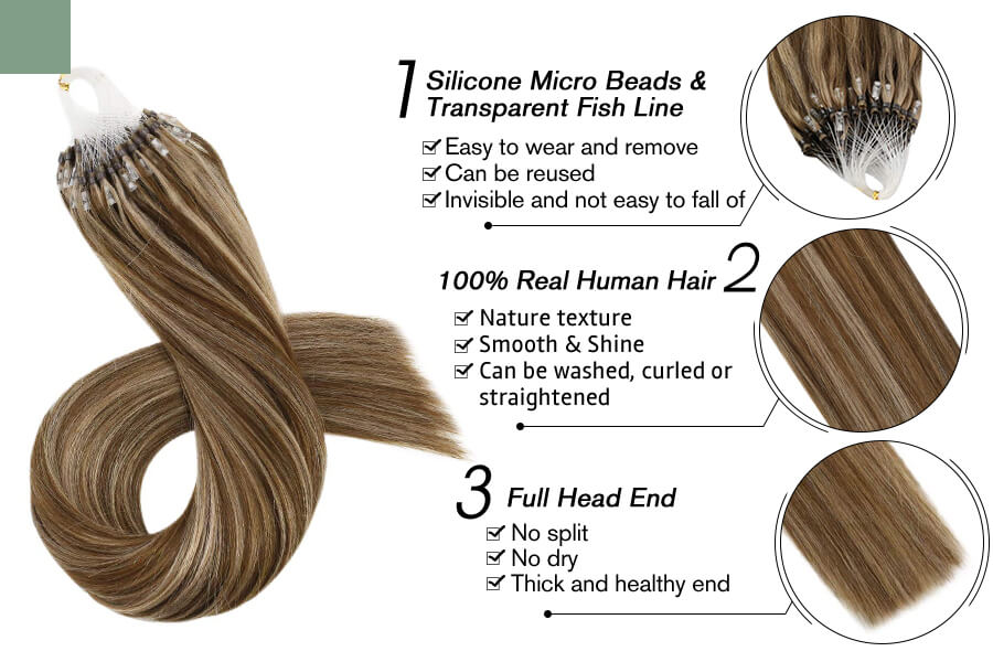 Details of Highlight Brown Color #P6/12 Beads Human Hair Extensions Natural Straight Hair