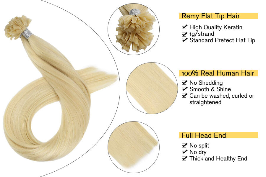 50strands Pre Bonded Hair Extensions Bleach Blonde #613 Flat Tip Keratin Hair Extensions Human Hair Brazilian