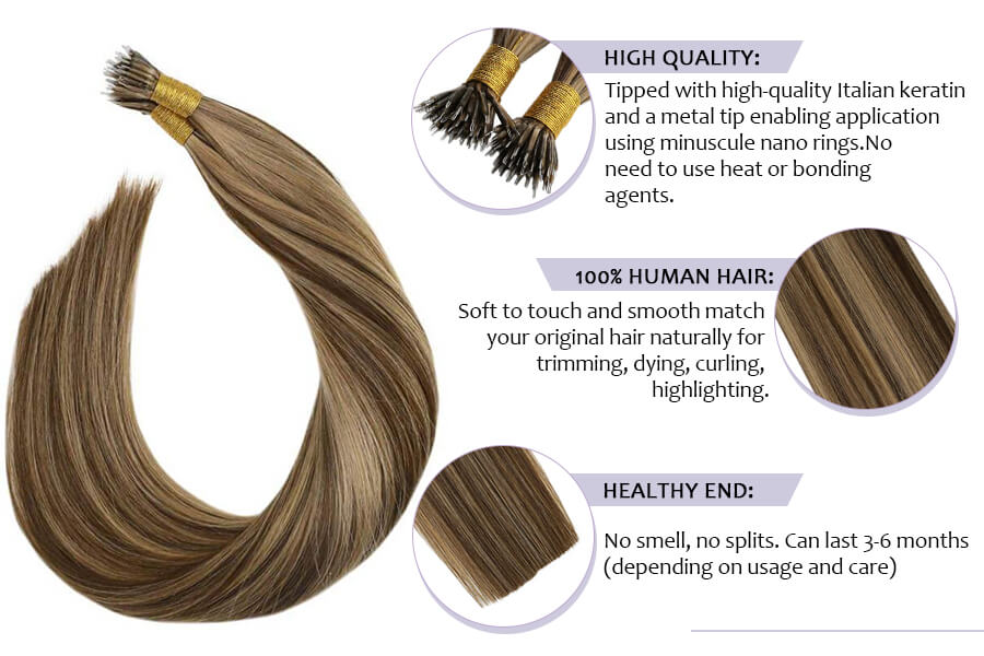 Nano Tip Remy Hair Extensions #4 Brown Highlighted with #16 Brown Pre Bonded Nano Stick Tips Hair Extensions
