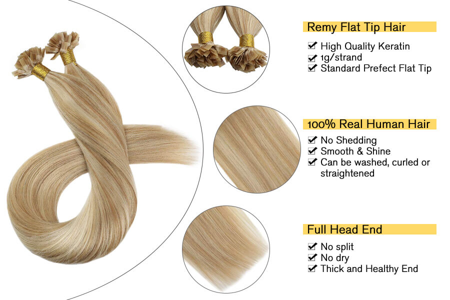 Ugeat Flat Tip Remy Hair Extensions Pre Bonded Fusion Hair Extensions Caramel Blonde Mixed with Bleach Blonde 50Gram