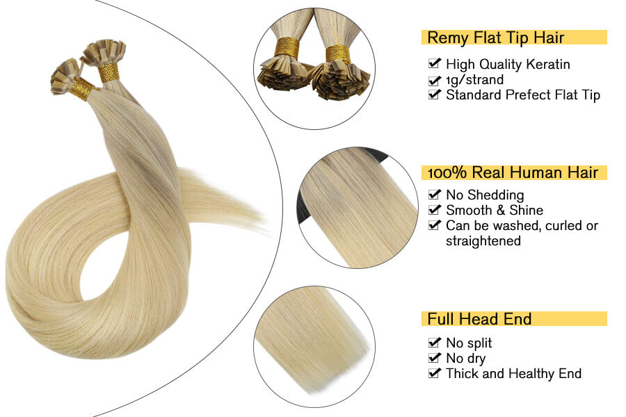 Ugeat Flat Tip Remy Human Hair Extensions Balayage Color Ash Blonde and Medium Blonde with Platinum Blonde #18/22/60