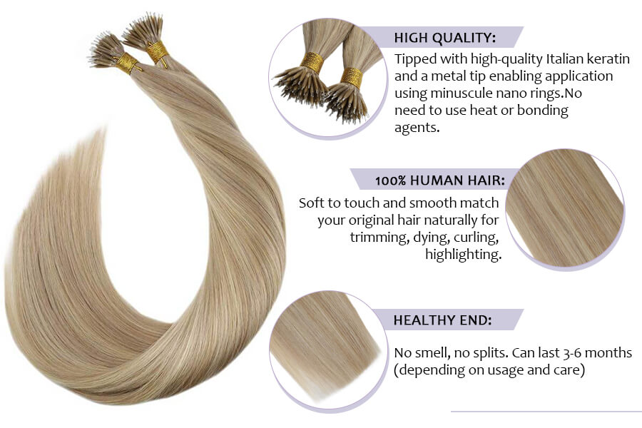 Nano Tip Remy Human Hair Extensions Ash Blonde Highlighted with Bleach Blonde