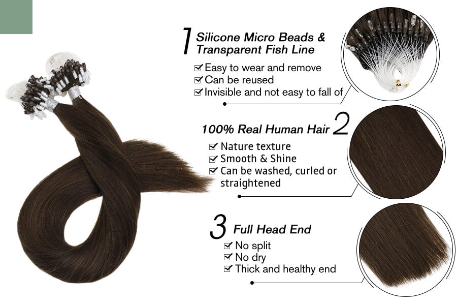 Micro Loop Bead Hair Extensions Pure Brown Color Remy Human Hair #4