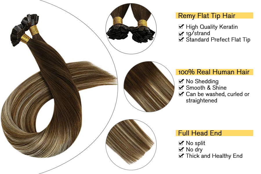 Ugeat Flat Tip Hair Extensions Fusion Hair Extensions 50strands Balayage #4/6/613