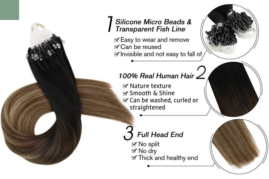 Micro Loop Hair Extensions for Sale Three Tones Balayage Color#1b/4/27