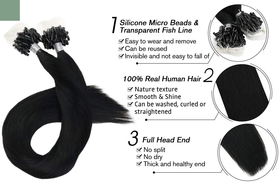 Micro Loop Hair Extensions for Sale Jet Black Color Remy Human Hair #1