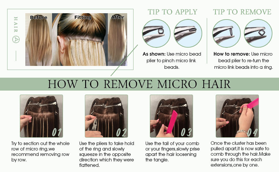 The method to remove the micro loop hair extensions