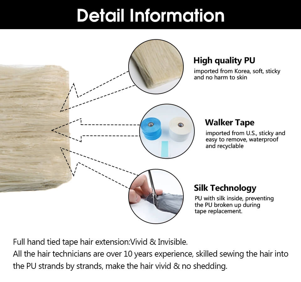 ugeat seamless invisible injection tape in hair extensions