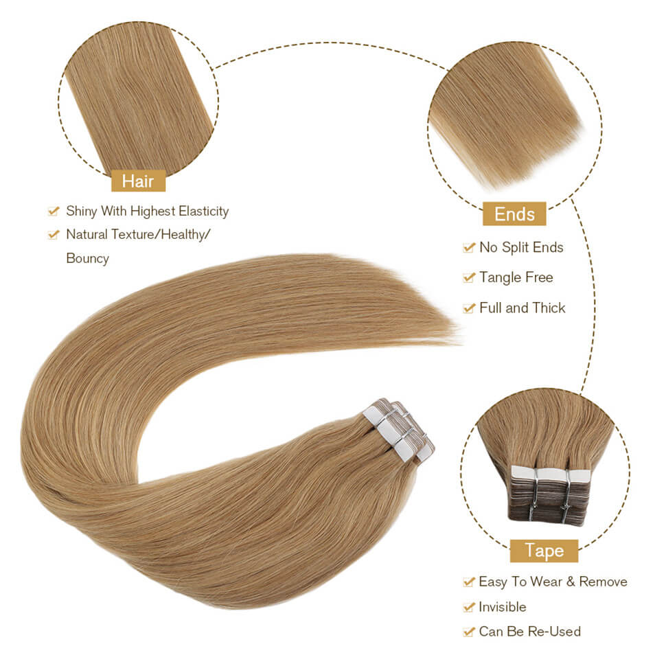 Ugeat Tape in hair extensions #27 blonde hair