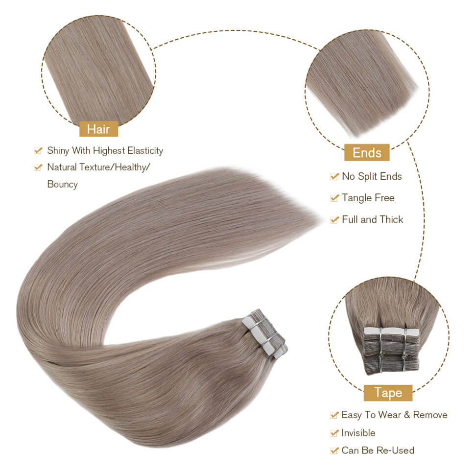 Ugeat Ash blonde tape in hair extensions