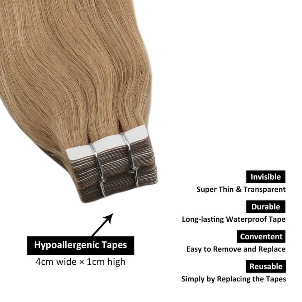 Invisible tape in hair extensions real hair