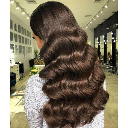 100% Human Hair Dark Brown Color #4 Front Lace Wigs with Baby Hair-UgeatHair