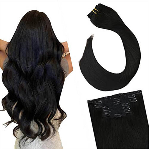 120g 7PCS Double Weft Clip in Hair Extensions