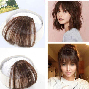 Air Fringe Bangs Clip in Human Hair Extensions Light Brown #6-UgeatHair