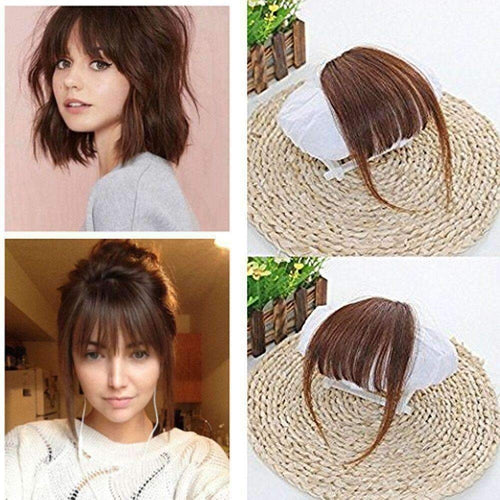 Ueaat Air Fringe Bangs Clip In Human Hair Extensions Light Brown 6