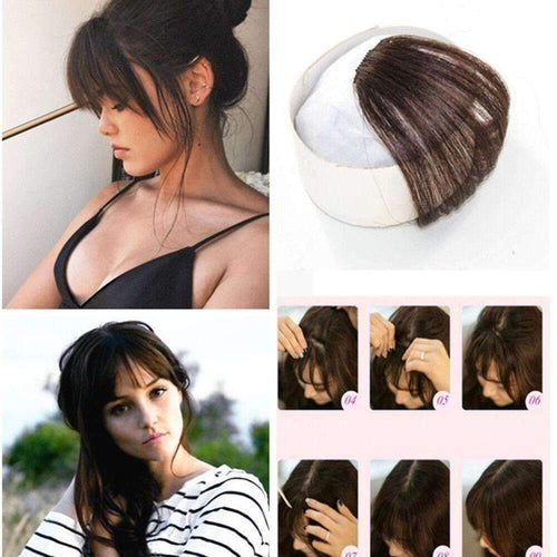 Air Fringe Bangs Clip in Human Hair Extensions Darkest Brown #2-UgeatHair