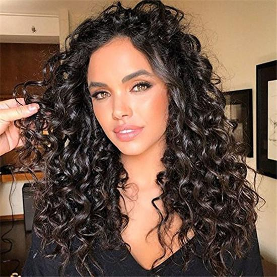 7 Pcs Clip in Afro Deep Wave Curly Natural Black Human Hair Extensions-UgeatHair