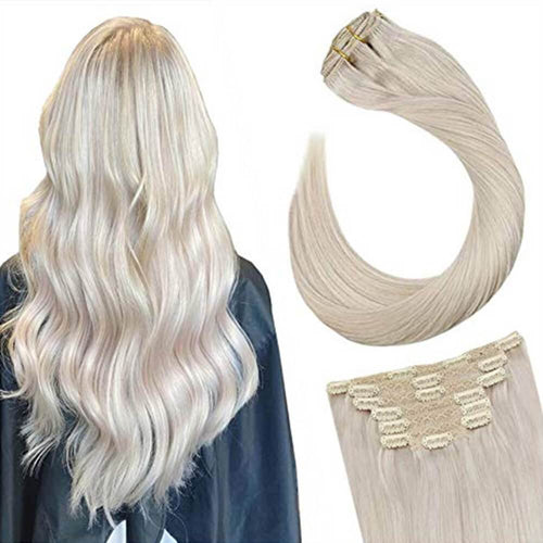 Remy Hair Extensions Clip in 14inch Platinum Blonde #60