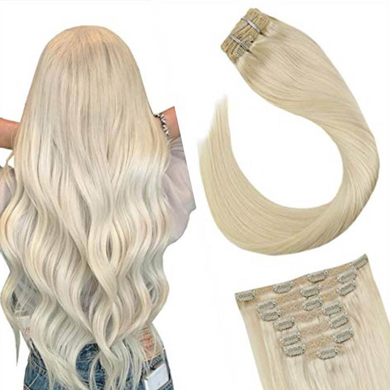 Blonde Clip in Hair Extensions Real Human Hair