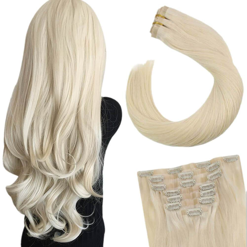 Clip on Hair Extensions #60 Platinum Blonde Hair Extensions